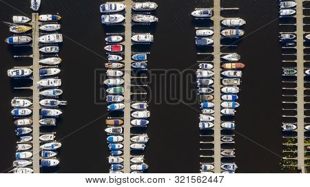 Aerial View By Drone Of Yacht Club And Marina. Top View Of Yacht Club. White Boats In Sea Water. Mar