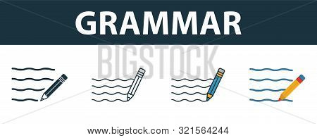 Grammar Icon Set. Four Elements In Diferent Styles From School Icons Collection. Creative Grammar Ic