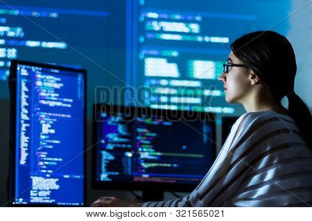 Software Developer Freelancer Woman Female In Glasses Work With Program Code C++ Java Javascript On