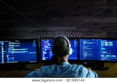 Software Developer Freelancer Man Male With White Headphones Working With Program Code: C++, Java, J