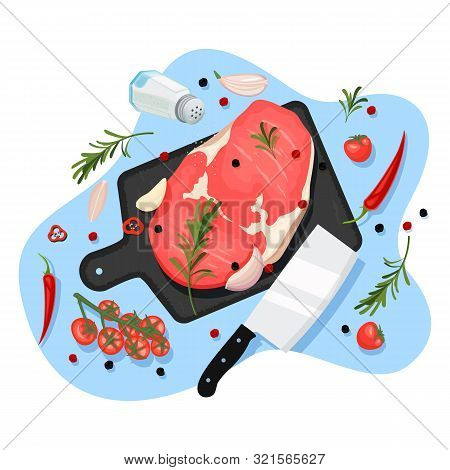 Cooking Beef Filet, Vector Cartoon Top View Illustration. Black Graphite Cutting Board With Raw Ribe