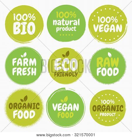 Fresh Healthy Organic Vegan Food Logo Labels And Tags. Vector Hand Drawn Illustration. Vegetarian Ec