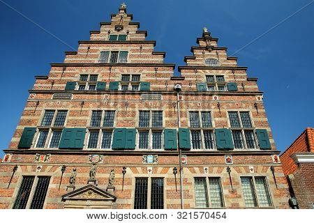 The City Hall (stadhuis, Built In 1601) With Carvings, Naarden, Netherlands. This Hall Nowadays Is U