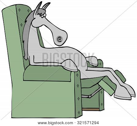 Illustration Of A Gray Horse Asleep In A Recliner Chair.
