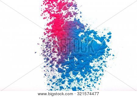 poster of Abstract colorful Happy Holi background. Color vibrant powder isolated on white. Dust colored splash texture.