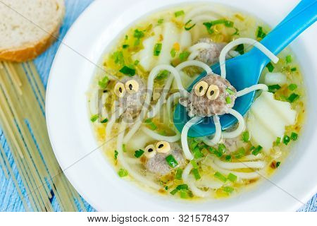 Octopus Soup For Kids Lunch - Potato Soup With Meatballs And Spaghetti Shaped Funny Octopuses In Whi
