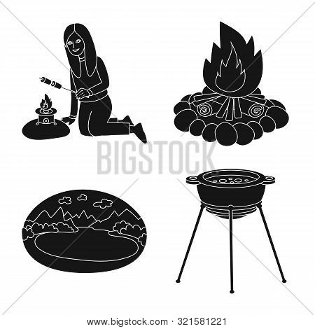 Vector Design Of Barbeque And Rest Icon. Set Of Barbeque And Nature Stock Vector Illustration.