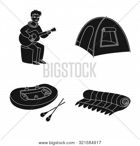 Vector Illustration Of Barbeque And Rest Sign. Collection Of Barbeque And Nature Stock Vector Illust