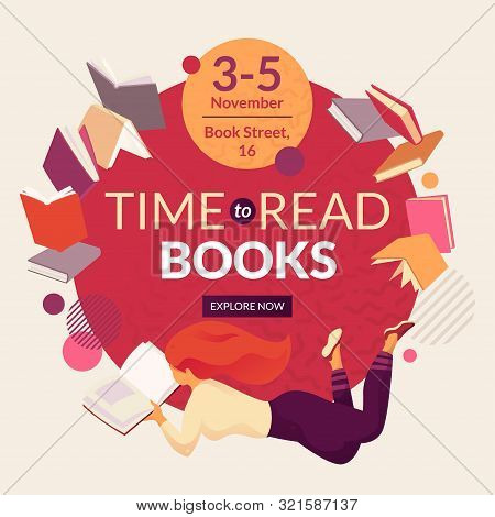 Time To Read Book Vector Template With Faceless Smiling Person Reading Book, Place For Text And Even