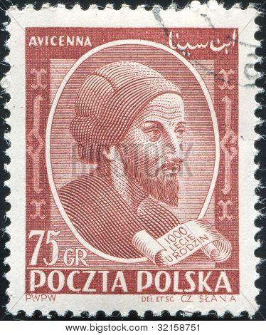 Polen, CIRCA 1952 - Stempel gedruckt von Polen, zeigt Avicenna oder Ibn Sina, islamische Apotheker, Polen