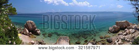 Croatia Panorama Landscape. Beaches And Coast Of Mimice, Dalmatia. Panoramic Photo.