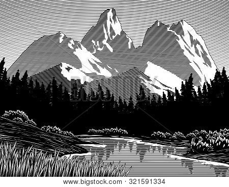 Woodcut Illustration Of A Lake With Mountains In The Background.