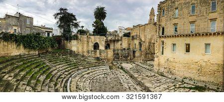 Panorama Of Centuries Old Teatro Romano Di Lecce (roman Theatre Of Lecce) In Italy