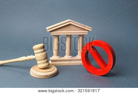 Courthouse With Judge's Gavel And Sign No. Concept Of Censorship And The Production Of Restrictions