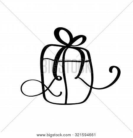Christmas Gift Box Drawing.Christmas Gift Box Vector Photo Free Trial Bigstock