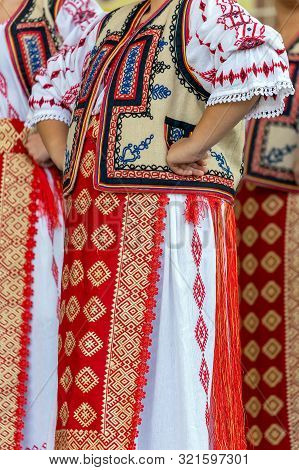 Detail Of Traditional Romanian Folk Costume For Woman, Specifically From Banat Area, Romania.