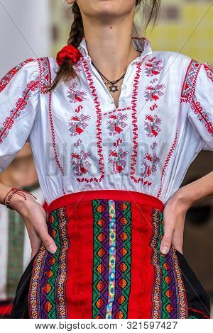 Young Jewish Dancer Dressed In Traditional Romanian Costume, Specifically From Banat Area, Romania.