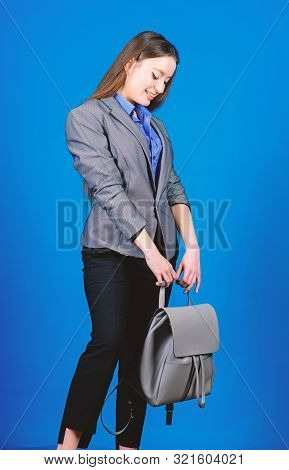 Girl Student In Formal Clothes. Female Bag Fashion. Business. Shool Girl With Knapsack. Student Life