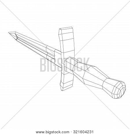Blade tactical combat hunting survival bowie knife. Model wireframe low poly mesh vector illustration poster