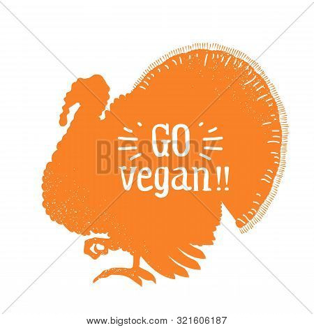 Happy Thankgiving Day. American Holiday With Traditional Turkey Silhouette And Text