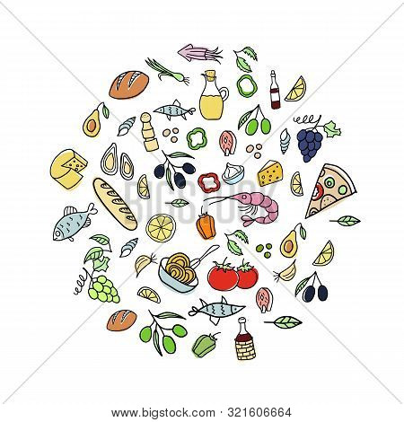 Set Of Doodles, Hand Drawn Rough Simple Italian Cuisine Food Sketches. Vector Illustration