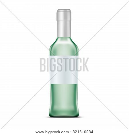 Rum In Glassware Bottle With Clear Or Empty, Blank Label For Bar Advertising Or Pub Promo. Template
