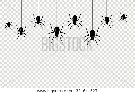 Isolated Seamless Pattern With Hanging Spiders For Decoration And Covering On The Transparent Backgr