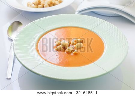 Spanish Homemade Tomato Cold Soup On Bowl