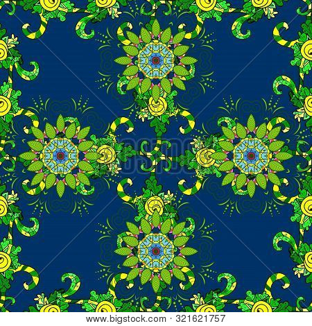 Gentle, Summer Floral On Blue, Green And Yellow Colors. Vector Illustration. Cute Floral Pattern In