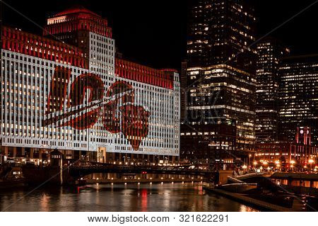 Chicago, Usa-september 5, 2019: The Chicago Bears Nfl Is Celebrating Their 100th Playing Season With