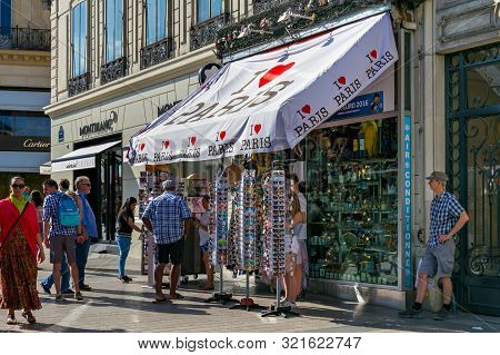 Paris, France - June 23, 2017: Street Tent For The Sale Of Souvenirs In The Center Of Paris On The A