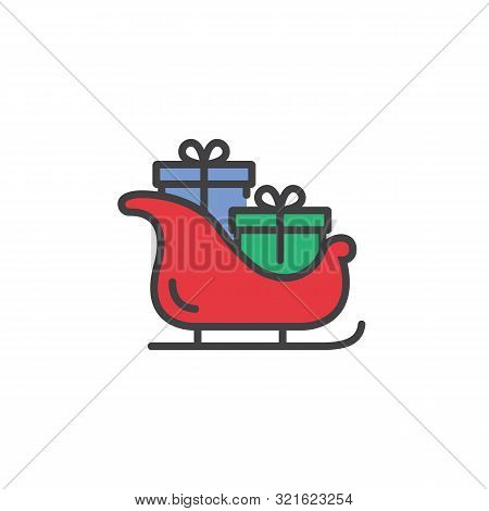 Santa Claus Sleigh Icon In Flat Style Isolated On White Background.