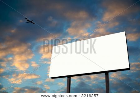 White Billboard With Sunset And Jet