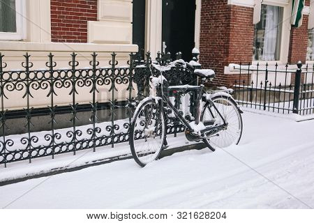 Bike Covered With Fresh Snow.