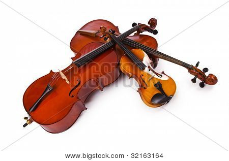 Musical instruments isolated on white