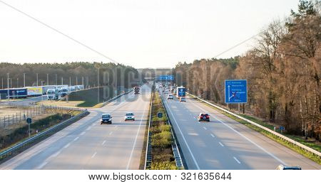 Krelingen, Germany, April 1, 2019: Autobahn In Germany, Cars Driving On The Road. View From The Brid