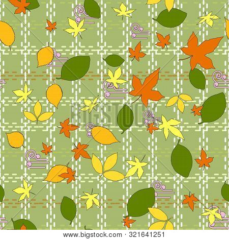 Seamless Pattern Of Autumn Green, Orange And Yellow Leaves Of Maple, Elm, Beech And Linden. Olive Ba