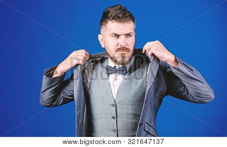 Successful Auctioneer. Business In Modern Life. Mature Illusionist. Bride Groom Ready For Wedding. E