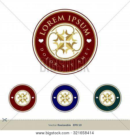 Circle Ornamental Flower Crest Emblem Logo Template Illustration Design. Vector Eps 10.