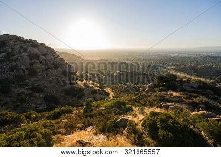 Sunny morning mountain view of the San Fernando Valley in Los Angeles, California.  Shot from Santa Susana Pass State Historic Park between Chatsworth and Simi Valley.