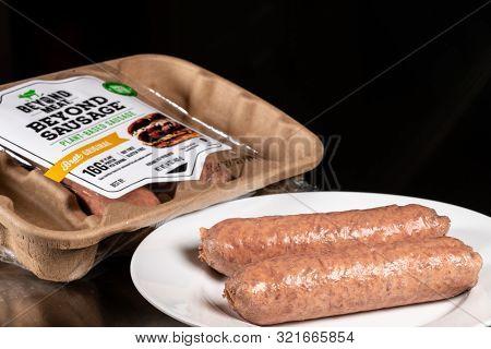 Morgantown, Wv - 11 September 2019: Packaging For Beyond Meat Beyond Plant-based Sausages On Steel T