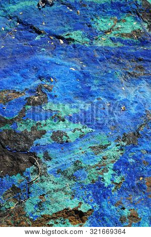 Beautiful Natural Stone Mineral Specimen With Blue Azurite And Green Malachite Deposits