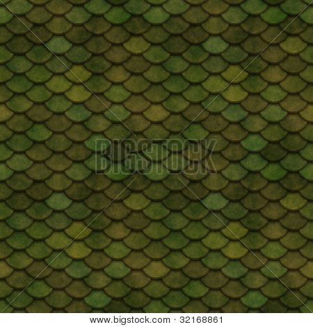 Olive Green Scales Seamless Pattern Texture Illustration poster