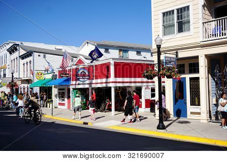 Mackinac Island, Michigan / United States - June 11, 2018: One May Rent A Bicycle At The Mackinac Bi