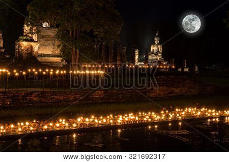 Sukhothai Co Lamplighter Loy Kratong Festival At The Sukhothai Historical Park Covers The Ruins Of S