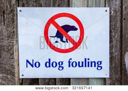 No Dog Fouling Sign With Illustration Of Dog Fouling Screwed On To A Wooden Fence