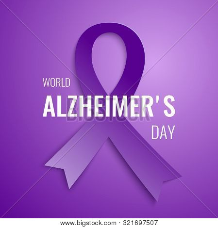 World Alzheimer's Day Card With Purple Ribbon And Text To Support People With Dementia And Their Car