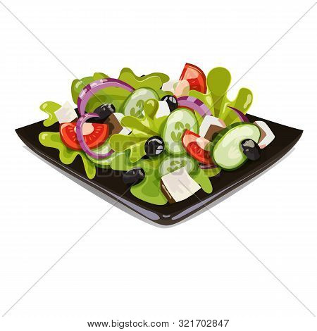 Greek Salad In A Black Plate. Salad On A Plate. Vector Vegetab