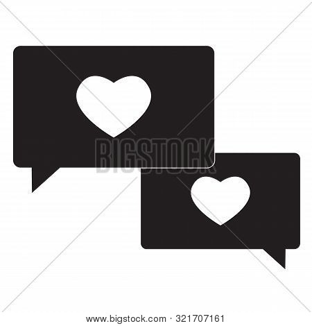 Compassion Icon On White Background. Flat Style. Speech Bubble With Heart Icon For Your Web Site Des