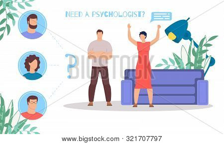 Relations And Understanding Problems In Family, Psychological Therapy For Couples Flat Vector Banner